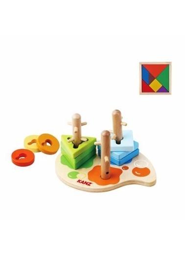 Mashotrend Ahşap Renkli Geometrik Vidalama Oyuncağı + Tangram - Bebek Oyuncağı Renkli